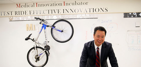 CHCF Health Care Leadership Program Fellow Andy Lee at his medical incubator in Los Angeles