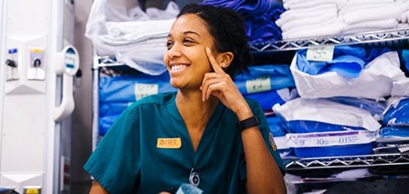 A UCSF nurse smiles
