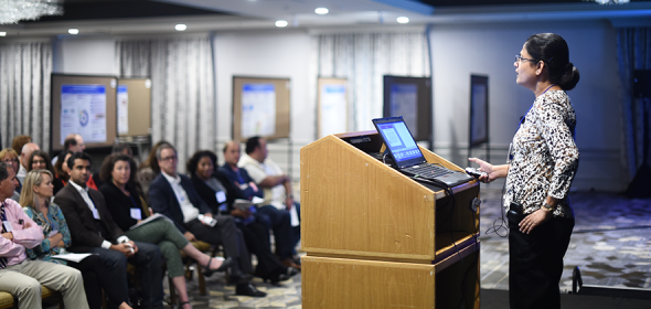 CHCF Health Care Leadership Program Fellow speaks to cohort.