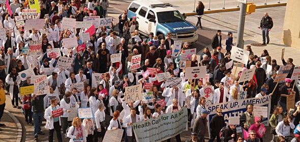 Health care professionals take to the streets to voice their opinion on new policy developments in health care.